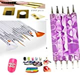 bellacoquinet Set 15 pennelli Bianco e 5 dotting Viola + 100 cartine di pausa + 1 Strass Lettera X + 5 Stripping