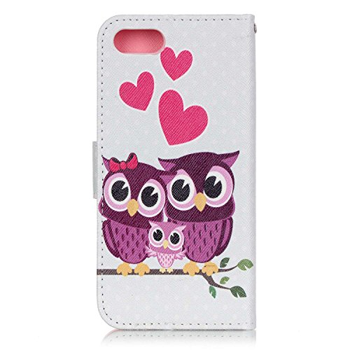 SainCat Apple iPhone 7 Custodia in Pelle,Anti-Scratch Protettiva Corpertura Caso Custodia Per iPhone 7,Elegante Creativa Dipinto Pattern Design PU Leather Flip Ultra Slim Sottile Morbida Portafoglio W un gufo