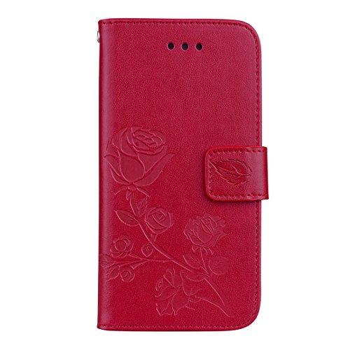 Coque iPhone 6 Plus Anfire Fleur Motif Peint Mode Coque PU Cuir pour iPhone 6 Plus Etui Case Protection Portefeuille Rabat Étui Coque Housse pour Apple iPhone 6S Plus / 6 Plus (5.5 pouces) Luxe Style  Rouge