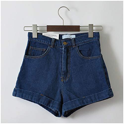 Frauen Shorts,Marine Blau Euro Style Frauen Denim Shorts Vintage Hohe Taille Cuffed Jeans Shorts Street Wear Sexy Sommer Frühling Herbst Shorts, 28. - Cuffed Jean Shorts