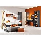 Habitación de los Niños IKS.01(5piezas) juvenil habitaciones Children Furniture en el color antracita/roble/naranja