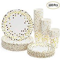 Juego de Vasos Desechables (180 Unidades, 60 Vasos de cartón, 60 Platos de