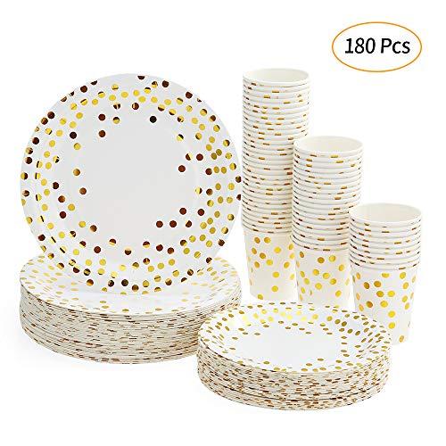 esonmus 180 Pappbecher Pappteller, Pappgeschirr 60pcs 9oz Papierschalen 60pcs 7