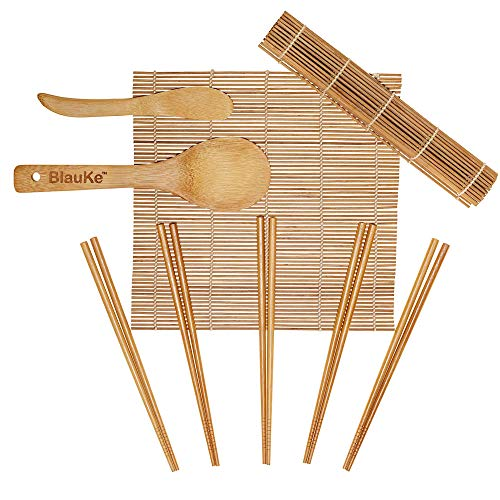Sushi maker kit completo in legno con stuoietta in bambù, spatola per riso, spatola e bacchette in bambù - kit sushi fai da te completo con 2 stuoie di bambù - sushi kit completo in bambu ecologico