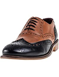 London Brogues Acento de Gatsby Zapatos Tan/Negro 7 Tan/Black