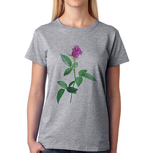 Flowers Nature Blossom Plant Real Pink Green Rose Damen T-Shirt Grau
