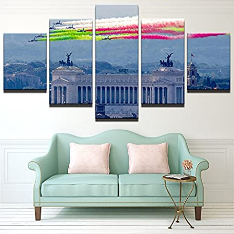 Wall Art Rahmen Leinwand HD gedruckte Gemälde 5 Stück Regenbogen Rauch Landschaft Poster Fighter Übung Bilder Home Decor, Größe 2, Rahmen