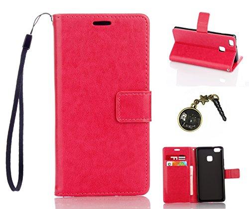 Preisvergleich Produktbild für Smartphone P9 Lite Hülle,Hochwertige Kunst-Leder-Hülle mit Magnetverschluss Flip Cover Tasche Leder [Kartenfächer] Schutzhülle Lederbrieftasche Executive Design +Staubstecker (4DD)
