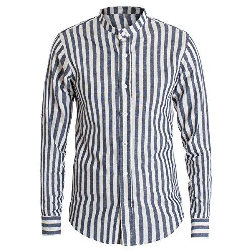 Giosal camicia uomo rigata collo coreano bicolore righe lino casual slim c1386a-blu-l