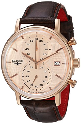 Elysee Minos Mens Chronograph Rose Gold Watch Black Leather