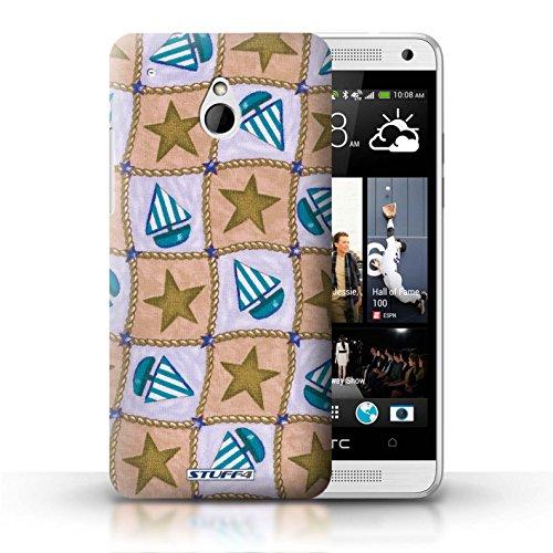 Kobalt® Imprimé Etui / Coque pour HTC One/1 Mini / Violettes/Vertes conception / Série Bateaux étoiles Brun/Bleu