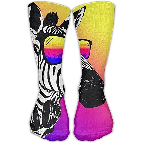 ouyjian Unisex Strumpfs Fashion Zebra with Sunglasses Casual Crew Sports Socks