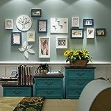 DONG Foto Wand Fotorahmen Collage Foto Wand Fotorahmen Moderne einfache Rahmen Wand Wohnzimmer Bilderrahmen Kombination Schlafzimmer Wanddekoration (Farbe : Blau+Weiß)