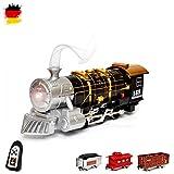 Himoto HSP RC ferngesteuerte Lokomotive mit Rauch- und Soundfunktion, Starter-Set, Zug Modell, Dampf-Lok, Elektrische Eisenbahn inkl. Zubehör, 19 Einzelteile