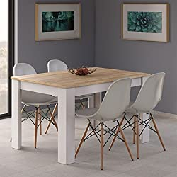 Mesa de Comedor Extensible de 140 a 190 cm, Color Roble Canadian y Blanco