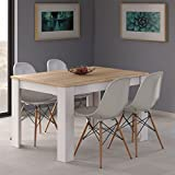 Habitdesign 0F4586 - Mesa de comedor extensible de 140 a 190 cm, color Roble Canadian y Blanco,...