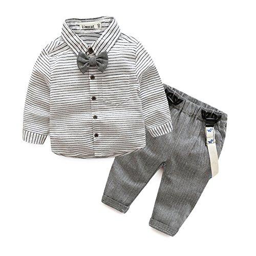 Kinder Baby Kleinkind Jungen Gentleman Baumwolle mit Ärmeln Herbst Kleidung des Babys Taufe Hochzeit Weihnachten Sakkos Anzüge Hemd (0-24M)