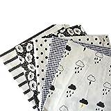 Souarts 5 Stück Stoffpakete DIY Kleine Blume Woklen Muster Baumwolltuch Patchwork Stoffe Paket Stoffset 50x50cm Schwarz und weiß