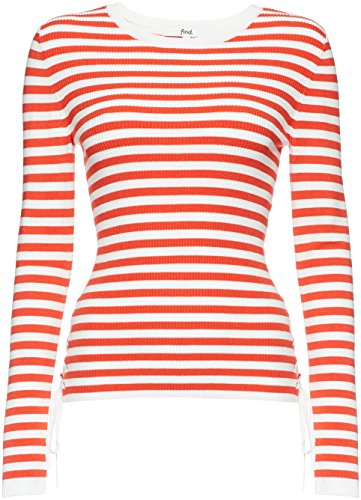FIND Jersey de Rayas Marineras para Mujer, Multicolor (Sports Red/white), Medium