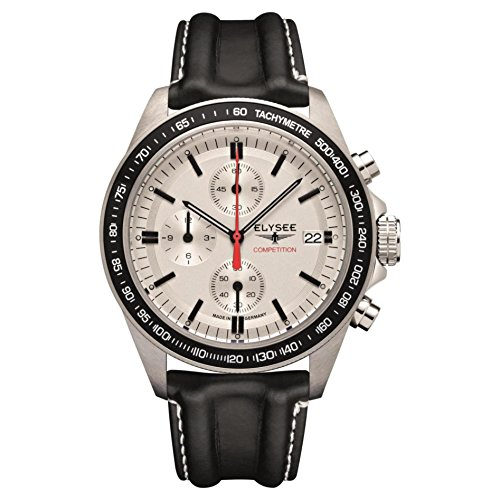 ELYSEE Men's Start-Up 42mm Black Leather Band Steel Case Sapphire Crystal Quartz White Dial Watch 18010L