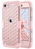 iPod Touch 5 Case, ULAK iPod Touch 6 Hybrid Heavy Duty Shockproof Studded Bling Crystal Rhinestone Case with Dual Layer Hard PC+ Soft Silicone Impact Protective Cover for Apple iPod Touch 5th/6th Generation - Rose Gold