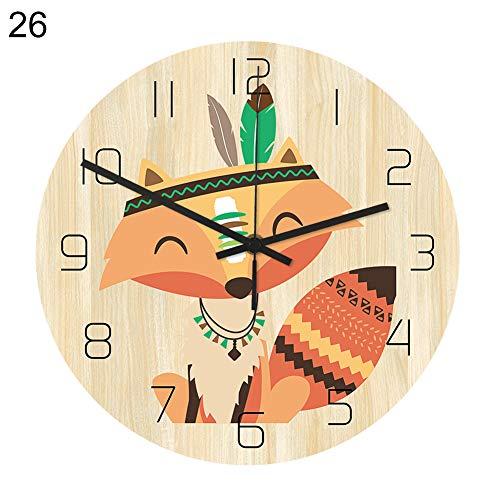 Sguan-wu 12 Zoll Runde Nordic Cartoon Tier Stille Bewegung Wanduhr Home Schlafzimmer Dekor,für die Küche Home Office Wohnzimmer und Schlafzimmer 26