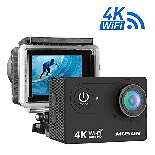 Action Kamera, 4K WiFi Sport Cam 16MP Ultra Full HD Camcorder, 30m Unterwasser Kamera Zubehör Kits w/5,1cm LCD-Bildschirm 170° Weitwinkel/2wiederaufladbare Batterien für Tauchen Klettern Schwimmen Radfahren