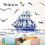 FUZILV Dunkelblaue Farbe Segelboot Vögel Wandaufkleber PVC Material DIY Wandkunst Für Wohnzimmer Sofa Hintergrund Dekoration 45X60 cm
