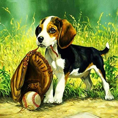 XADITON Malen nach Zahlen Kunst Cartoon Tier Hund und Baseball Digitale Malerei DIY vorgedruckte Leinwand Geschenk für Erwachsene KinderHome House Decor-40 * 50cm Rahmenlos
