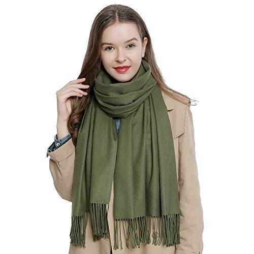 Bufanda de invierno grande para mujer 185 x 65 cm liso suave y cálido - verde