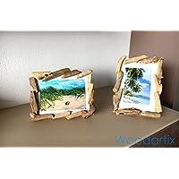 Holz Bilderrahmen mit Treibholz - Schwemmholz umrandet, ein Woodartix Unikat für Bildformat: 13 x 18 cm - in Handarbeit gefertigt mit Echtglas