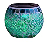 Best Season 477-50 - Linterna mosaico con luz led (1 led RGB, con panel solar, incluye batería, para exteriores)