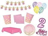 XXL Party Deko Set 2.Geburtstag Kindergeburtstag 53 teilig rosa/gold Mädchen Party Geschirr Party Deko