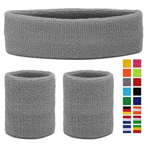 HikBill Schweißbänder Set inkl Sport Stirnband und Handgelenk Schweißbänder für Laufen Fahrrad Joggen Tennis Fußball (Grey)