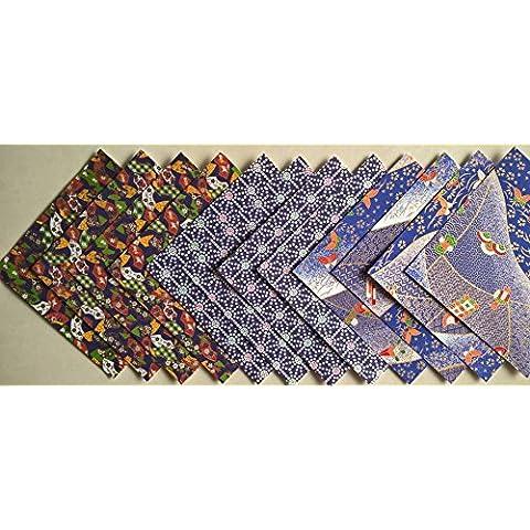 Yuzen Carta Chiyogami tradizionale giapponese, 12 fogli, 15 x 15 cm, Dimensioni: (Washi Chiyogami Carta)