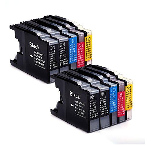 10er Set kompatibel Brother LC1240XL LC1280XL Druckerpatronen mit hoher Reichweite für Brother MFC 430 625 825 6510 6710 6910 MFC-j430W MFC-J625DW MFC-J825DW MFC-J6510DW MFC-J6710DW MFC-J6910DW DCP 525 725 925 DCP-J525W DCP-J725DW DCP-J925DW Drucker – 4 Schwarz/2 Blau/2 Rot/2 Gelb, mit Chip (10 Combo Pack Kompatibel)