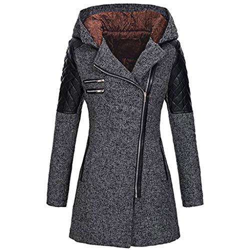 Kolila Winterjacke Oberbekleidung Damen Warm Slim Diagonal Reißverschluss Dicker Kapuzenmantel Nähte Composite Plüsch Mantel