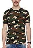WYO Men's Camouflage Army Military Half Sleeve Round Neck T-Shirt(Small, BrownCamo)
