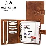 ALMADIH - Organizador de documentos, hecho de piel, tamaño A5, con cierre de mecánico (piel de vacuno trata con sustancias vegetales, agenda 2016), color marrón