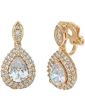 Clearine Damen Österreichischen Kristall Elegant Marquise Form Tropfen Clip-on Dangle Ohrringe Ohrclip Klar