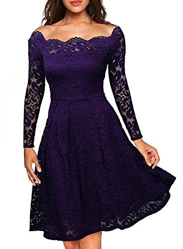 ASCHOEN Damen Spitzenkleid Abendkleid Vintage Off Schulter Knielang A-Linie Cocktailkleid Retro Spitzen Langarm Kleid Violett