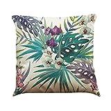 MStar Plantas tropicales patrón impreso almohada 45 x 45 cm lino de algodón transpirable funda de cojín