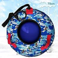 ZHAOK Trineo De Nieve Inflatable Snow Tubes con Asas, Material espesante de 0.3 mm, para Adultos y Mayores de 3 años Niños-75CM,Azul