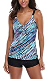 Attraco Womens Two Piece Retro Oceanic Stripes Swimsuit Tie Front Swimming Costume Tankini Sets