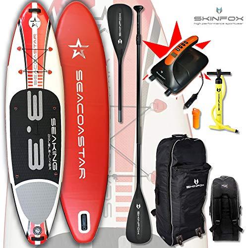 SEACOASTAR Aktion SUP Board Paddelboard aufblasbar rot Set ALU-KOMPLETT-Set inkl. Super Elektrik Pump (Board,Bag,Pumpe,Repair-Set,ALU-SUP-/Kayak Paddel+Super Elektrik Pumpe) ERSPARNIS: 39 Euro