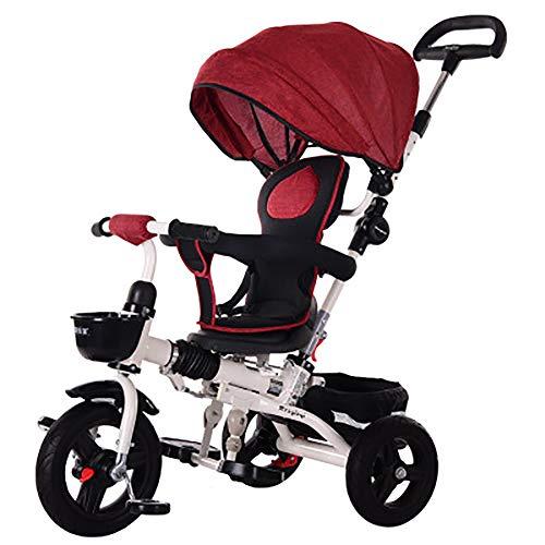 SSLC 4 in1 Baby Dreirad Kinderdreirad Falten Kinder Fahrrad Rad Baby Kleinkinder ✔klappbares Sonnendach✔Elternlenkung✔viele Vorteile ✔leise PU-Reifen ✔Jungen und Mädchen ✔mitwachsend, Wine red (Falten Kleinkind Fahrrad)