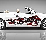 2x Seitendekor 3D Autoaufkleber Geo Figur Roboter Digitaldruck Seite Auto Tuning bunt Aufkleber Seitenstreifen Airbrush Racing Autofolie Car Wrapping Tribal Seitentribal CW139, Größe Seiten LxB:ca. 160x40cm