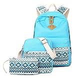 SQLP Schulrucksack Mädchen Teenager Damen Casual Canvas Rucksack Set +Schultertasche +Geldbeutel/Mäppchen Jugendliche Freizeitrucksack Daypacks (hellblau)