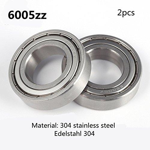 Preisvergleich Produktbild 6005Z S6005 6005ZZ lager 304 Edelstahl Rillenlager Miniaturlagern Motoren 25X47X12mm ball bearing for motor 2-Pcs