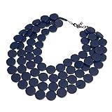 XBY Damen Blau Strangkette Collier Modeschmuck Handgemachte Holz Kette Statement Halsreif Bib Multistrand